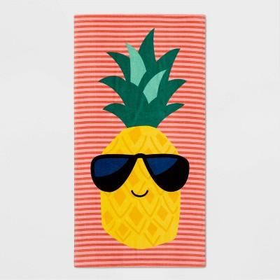 Pineapple Beach Towel Red/Yellow - Sun Squad™
