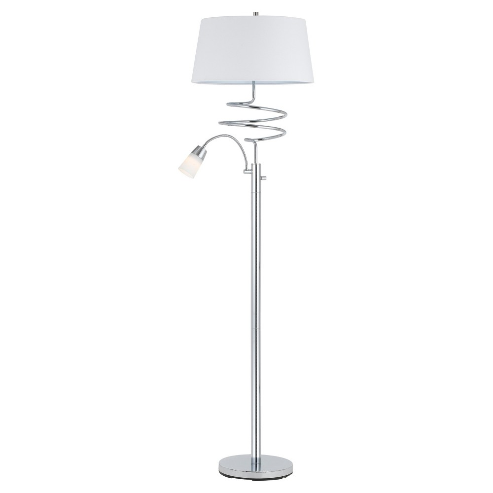 Image of 100w Mora Metal Floor Lamp With 5w Led Reading Lamp Chrome (Includes Energy Efficient Light Bulb) - Cal Lighting