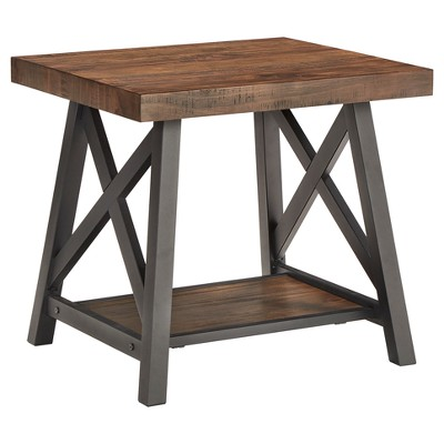 Lanshire Rustic Industrial Metal & Wood End Table - Inspire Q