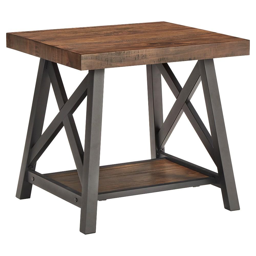 Lanshire Rustic Industrial Metal & Wood End Table - Brown - Inspire Q