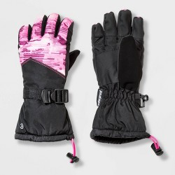 Girls' Printed Colorblock SKI Gloves - C9 Champion® Black/Pink