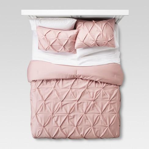 Blush Pinched Pleat Comforter Set (King) 3pc - Threshold™ - image 1 of 3