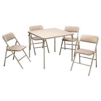 5 Piece Folding Table and Chair Set - Wheat Diamond - Cosco