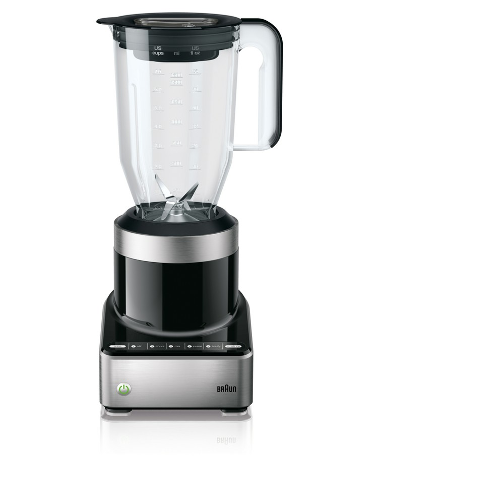 Braun Jug Blender - Stainless Steel JB7130BK, Black It's simple… stir, chop, mix, puree, liquefy, crush. Blenders shouldn't be complicated, and nobody knows this better than Braun. Taking blending to new levels of ease and creativity, Braun's PureMix Blenders with Bpa-free plastic pitchers put you in control for consistent results, every time. The innovative SmoothCrush system, unique blade design, pitcher contours and PowerAssist technology maintain optimal speed and deliver the smoothest results possible. Color: Black.