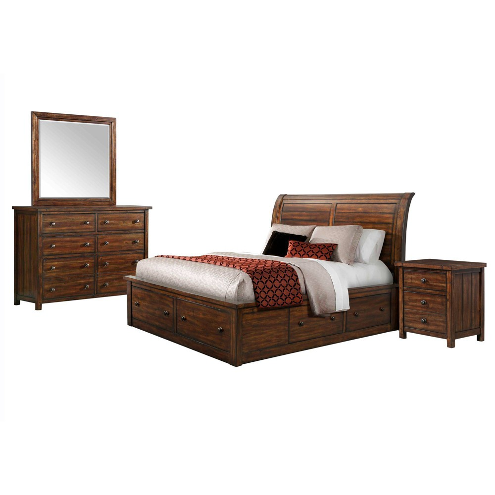 4pc King Danner Storage Bedroom Set Warm Cinnamon - Picket House Furnishings, Brown