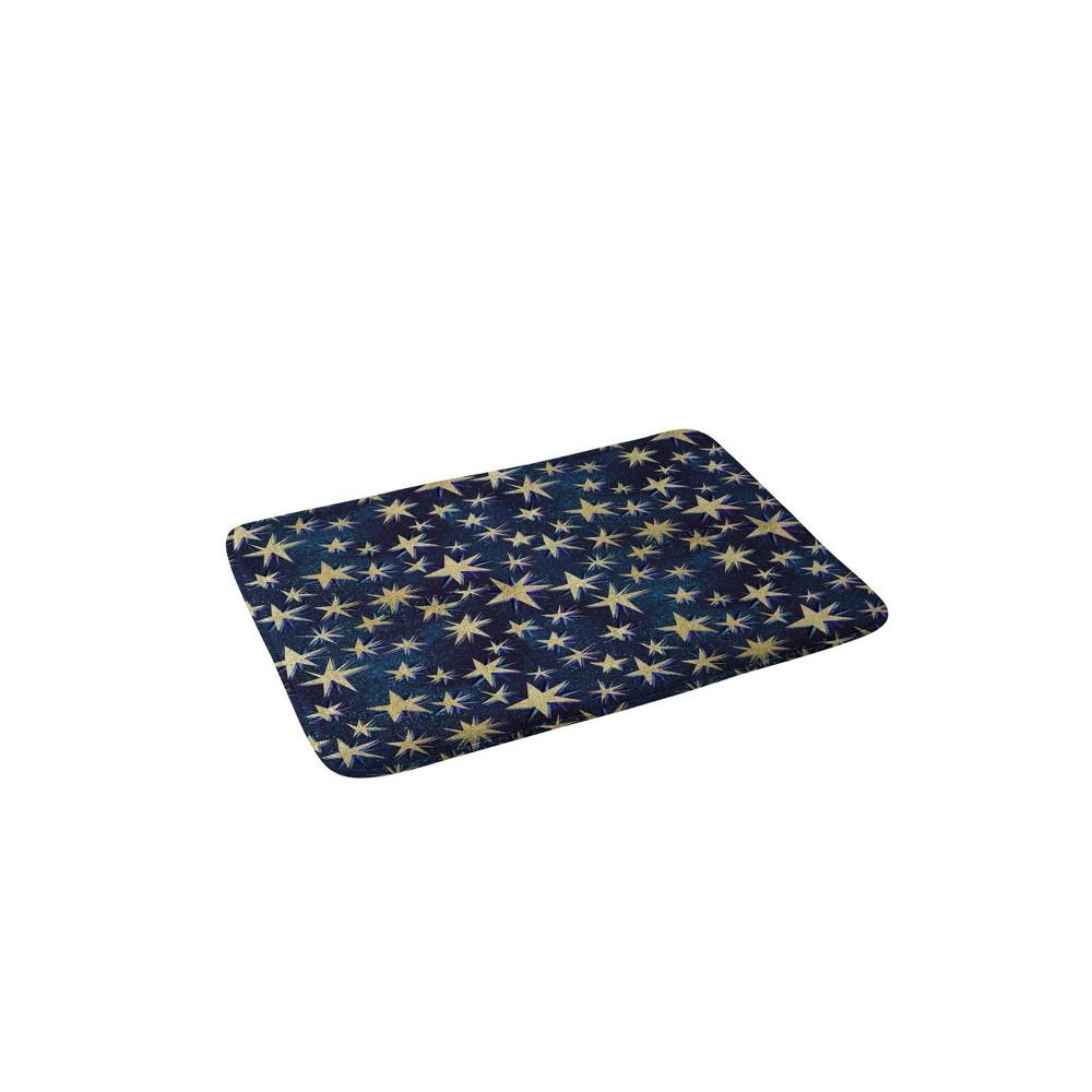 Schatzi Starry Galaxy Memory Foam Bath Mat Brown Yellow Deny Designs