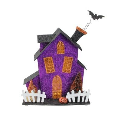 "Ganz 11"" Prelit Glittered Haunted Fun House Halloween Decoration - Black/Purple"