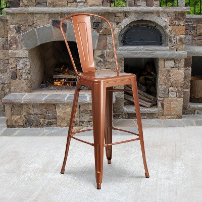 """Emma and Oliver Commercial Grade 30""""H Metal Indoor-Outdoor Barstool with Drain Holes and Back"""