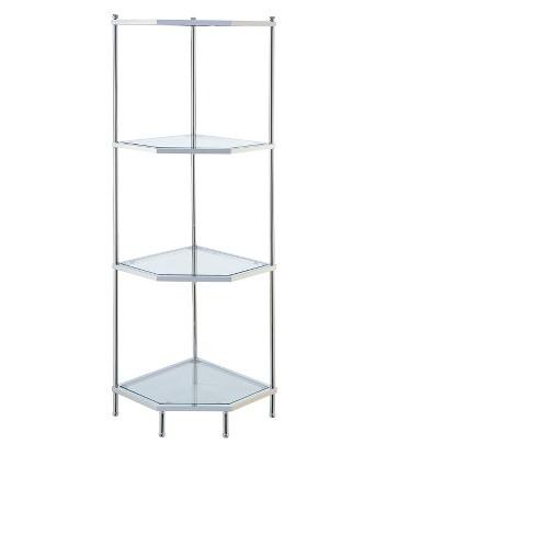 "Royal Crest 4 Tier Corner Shelf Chrome/Glass 50.75"" - Johar Furniture - image 1 of 4"
