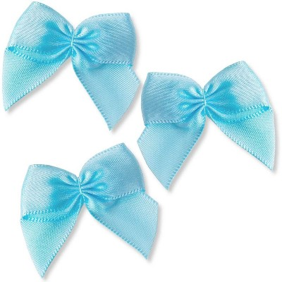 "200pcs Mini Satin Ribbon Bow Flowers with Self-Adhesive Tape for DIY Crafts, Sewing, Scrapbooking and Gift (Blue, 1.5"")"