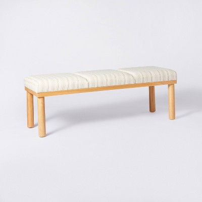 Scofield Channel Tufted Wood Leg Bench Neutral Stripe - Threshold™ designed with Studio McGee