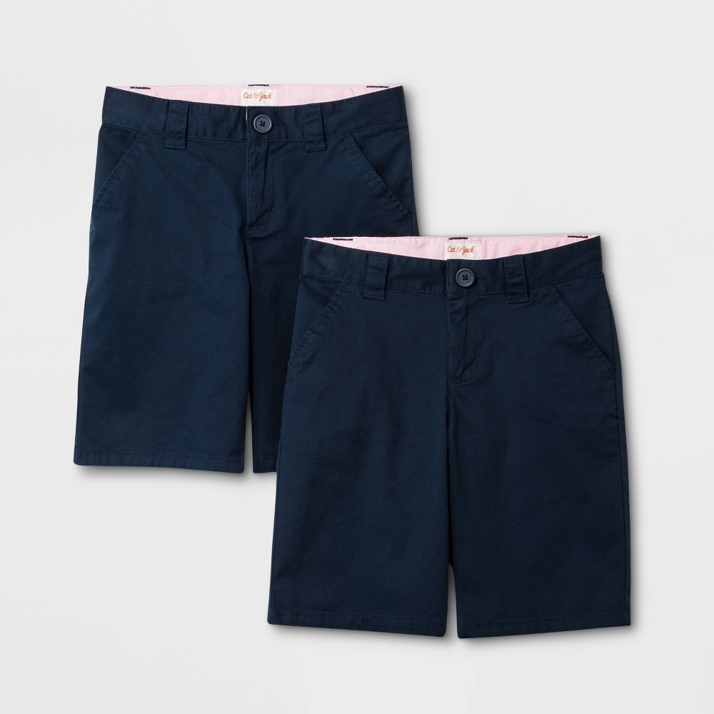 Girls' 2pk Uniform Chino Shorts - Cat & Jack Navy (Blue) 4
