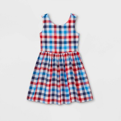 Girls' Americana Gingham Woven Sleeveless Dress - Cat & Jack™ Red/Blue
