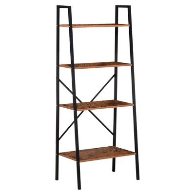 HomCom 4-Tier Vintage Look Ladder Book Shelf