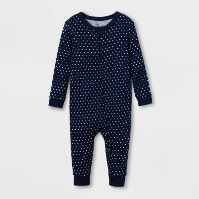 Baby Polka Dot 100% Cotton Matching Family Union Suit - Navy