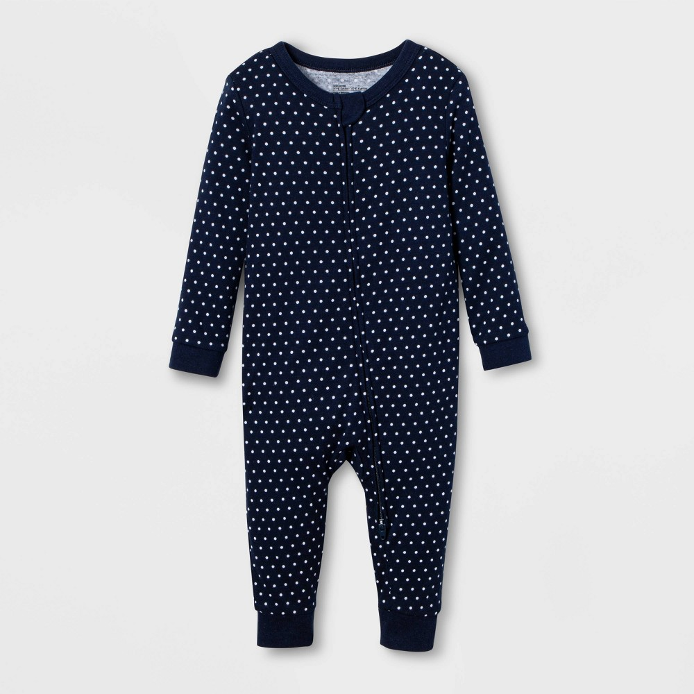 Image of Baby Polka Dot Union Suit - Navy 3-6M, Adult Unisex, Blue