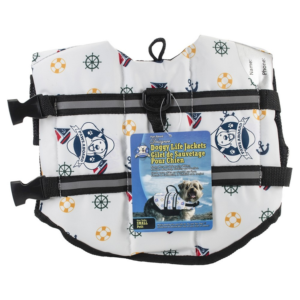 Paws Aboard Nautical Dog Fido Doggy Life Jacket - Small, Multicolored
