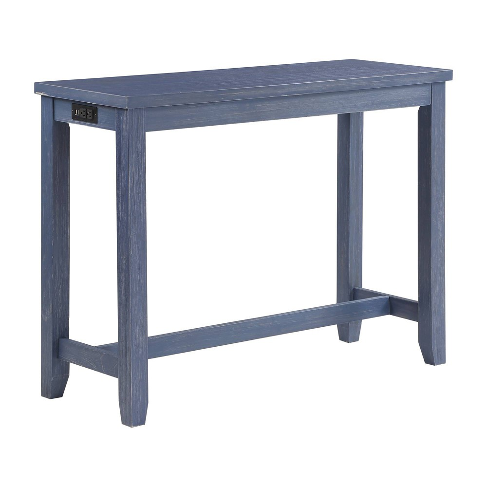 Rockland Counter Height Table With Usb Port Antique Blue Homes Inside Out