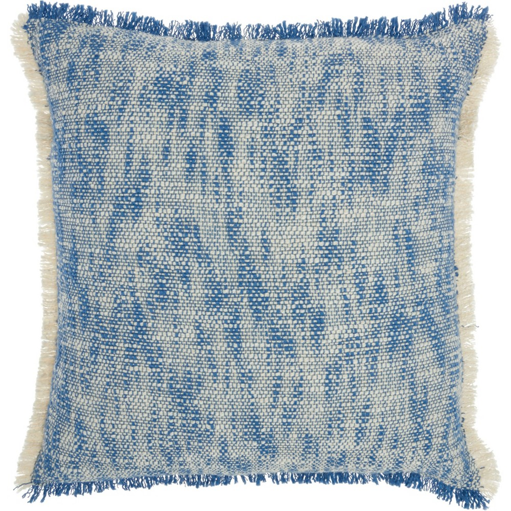 Image of Life Styles Woven Fringe Throw Pillow Blue - Nourison