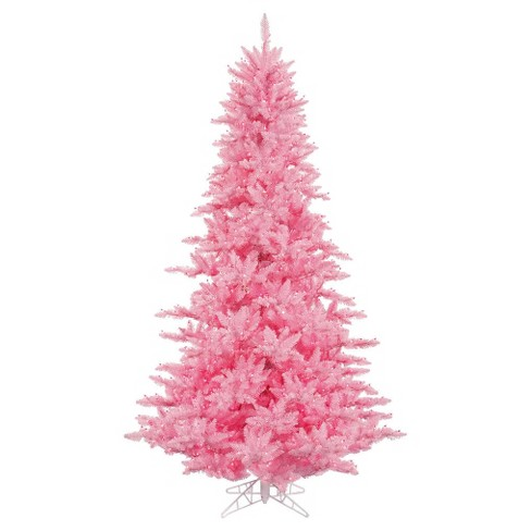 3 Artificial Christmas Tree With Pink Dura Lit Lights