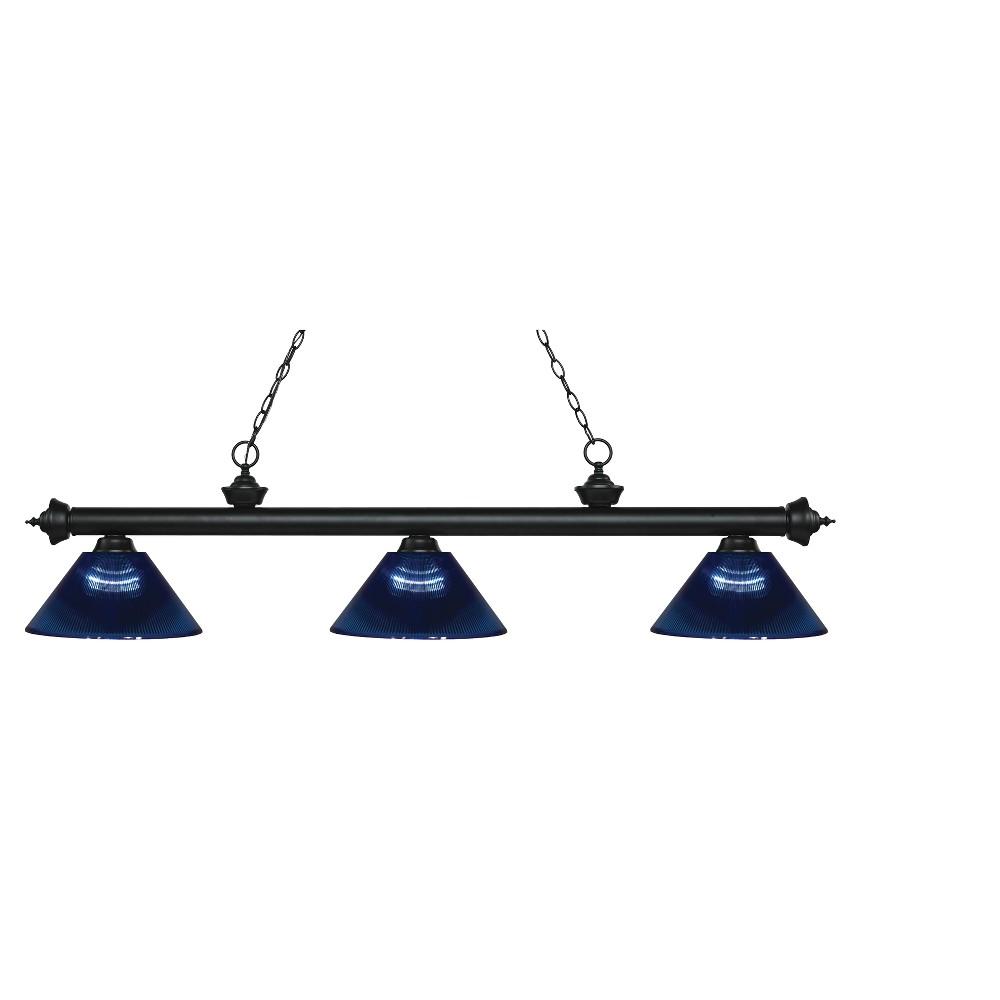 Billiard Ceiling Lights with Dark Blue Glass (Set of 3) - Z-Lite