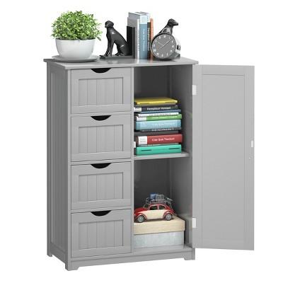 Costway Wooden 4 Drawer Bathroom Cabinet Storage Cupboard 2 Shelves Free Standing