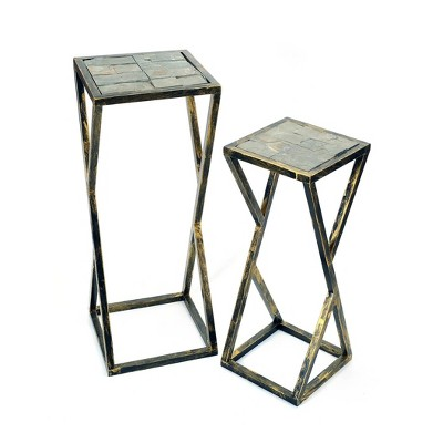Set of 2 Rectangular Metal Plant Stands with Gray Stone Slab - Black/Gold - Ore International