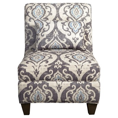 Blue Slate Collection Accent Chair Gray/Light/Large Damask - HomePop