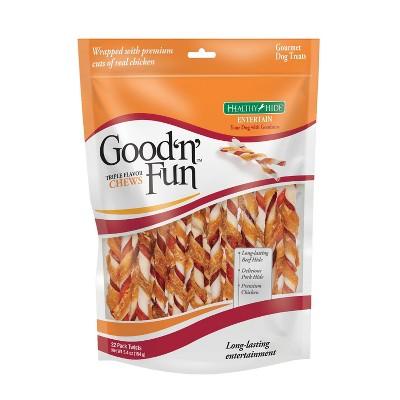 Good 'n' Fun Triple Twists Rawhide Dog Treats - 22ct