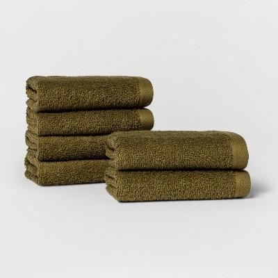 6pk Washcloth Set Green - Room Essentials™