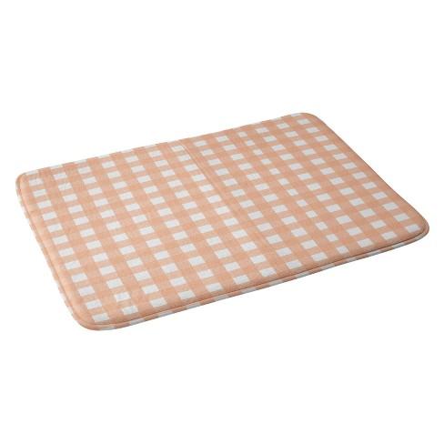 Allyson Johnson Peach Check Bath Rugs And Mats Pink Target
