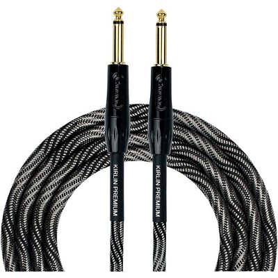 """KIRLIN IWB Black/White Woven Instrument Cable 1/4"""" Straight"""