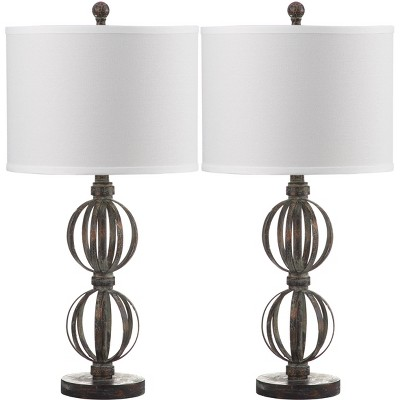 Calista Double Sphere Table Lamp (Set of 2) - Oil Rubbed Bronze (Black) - Safavieh