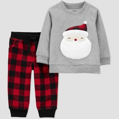 Baby Boys' 2pc Christmas Plaid Santa Top and Bottom Set - Just One You® made by carter's Red/Black/Gray 12M