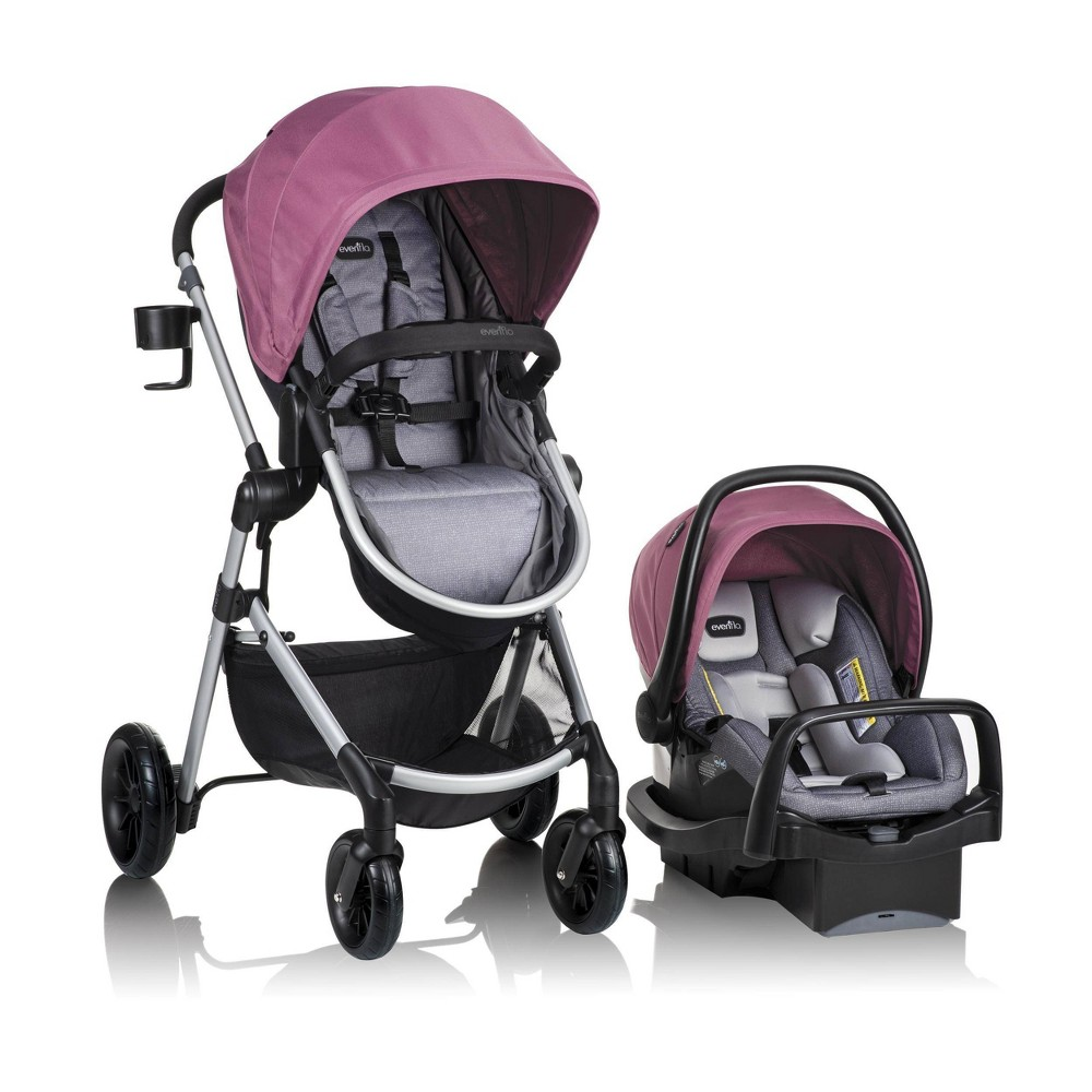 Evenflo Pivot Modular Travel System with SafeMax Infant Car Seat - Dusty Rose, Dusty Pink