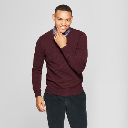 Mens Long Sleeve V Neck Sweater Goodfellow Co Burgundy Heather