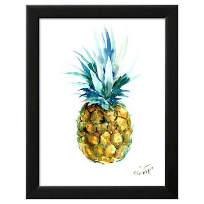 Pineapple Black Wood Framed Art Print