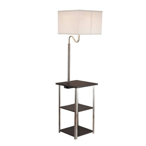 Dru Square Side Table Floor Lamp Brown Lamp Only Ore