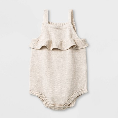 Baby Girls' Sleeveless Ruffle Sweater Romper - Cat & Jack™ Oatmeal Heather Newborn