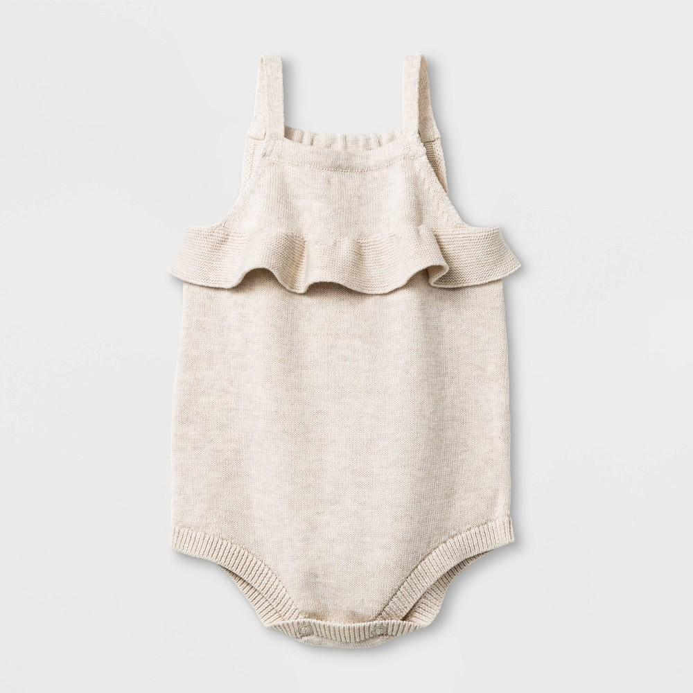 Baby Girls' Sleeveless Ruffle Sweater Romper - Cat & Jack Oatmeal Heather 0-3M, Brown