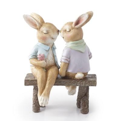 Lakeside Bunny Couple on a Bench Garden Statue - Spring Season Landscaping Accent