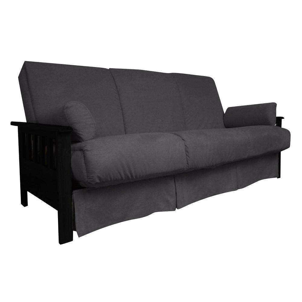 Mission Perfect Convertible Futon Sofa Sleeper - Black Wood Finish - Epic Furnishings, Grey