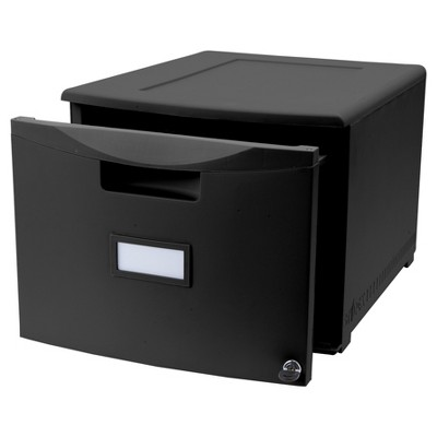 Storex Stackable Filing Drawer with Lock - Black