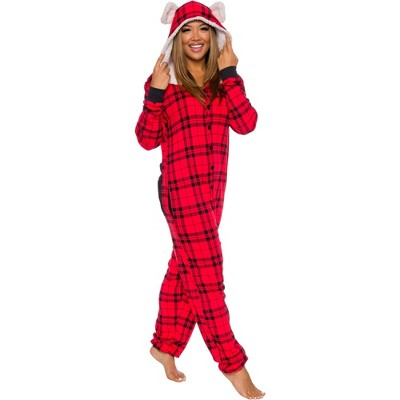 Silver Lilly Slim Fit Women's Be Bear Buffalo Plaid One Piece Pajama Union Suit