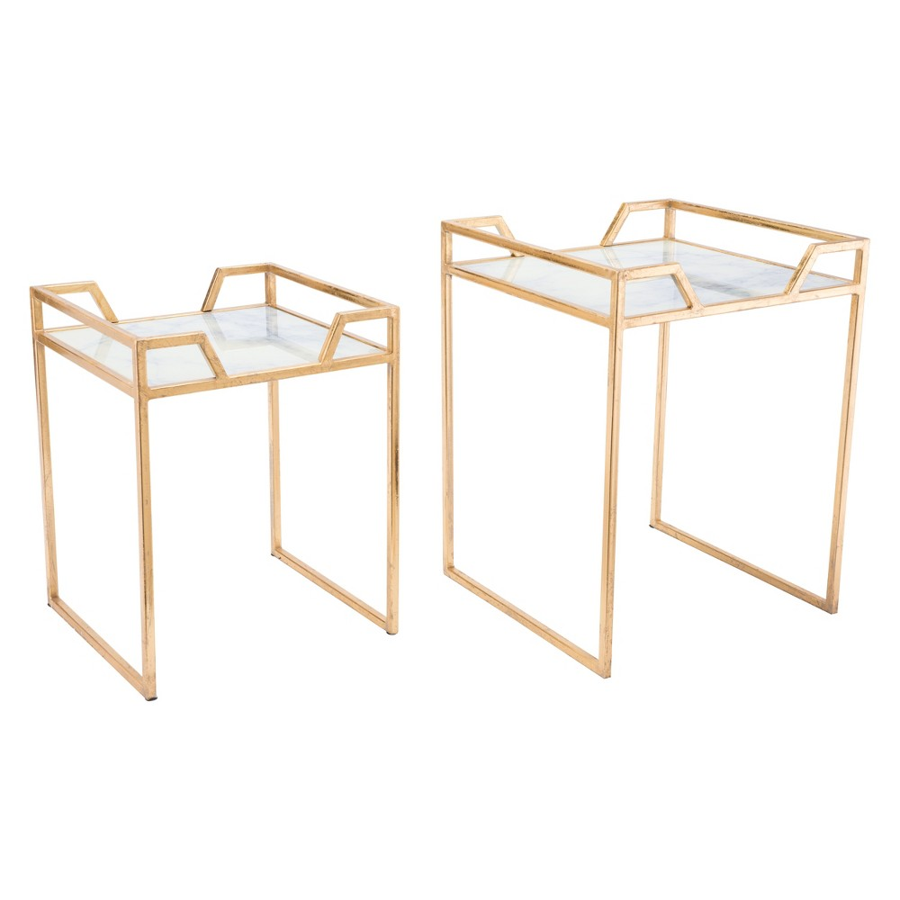 Printed Faux Marble Square Tables (set Of 2) - Gold - ZM Home