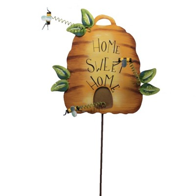 """Home & Garden 28.75"""" Home Sweet Home Beehive Stake Spring Bees Round Top Collection  -  Decorative Garden Stakes"""