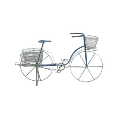 "28"" Farmhouse Iron and Aluminum Tricycle Planter Blue - Olivia & May"