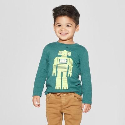 Toddler Boys' Robot Long Sleeve T-Shirt - Cat & Jack™ Green 3T