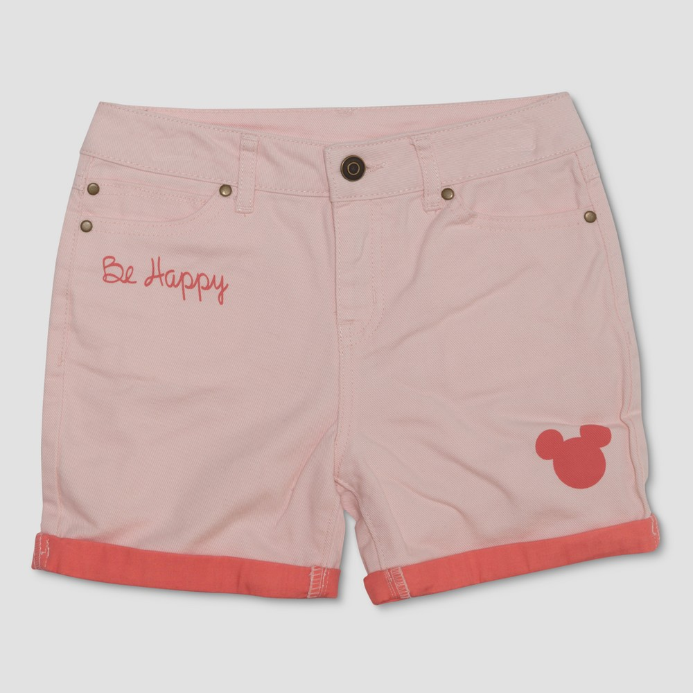 Junk Food Girls' Mickey Mouse 'Be Happy' Jean Shorts - Peach L, Pink