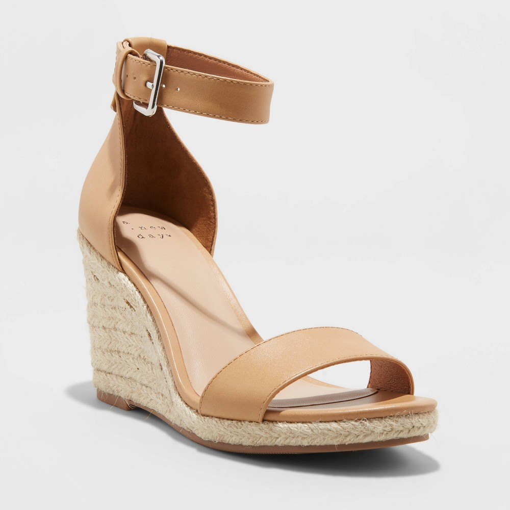 Women 39 S Lola Faux Leather Espadrille Wedge Heels A New Day 8482 Tan 9